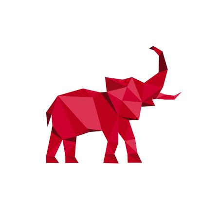 Ilustración de Red Elephant standing with trunk up Polygon style Animal Design Vector illustrations Low Poly Modern logo art - Imagen libre de derechos