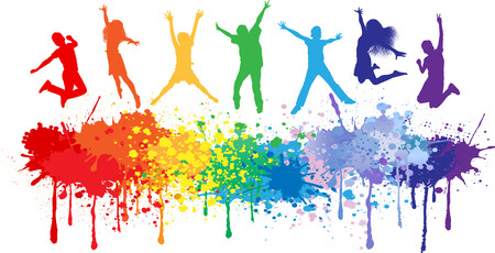 Illustration pour Colorful bright ink splashes and kids jumping on white background  - image libre de droit