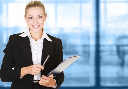 Photo pour business woman in modern glass interior - image libre de droit