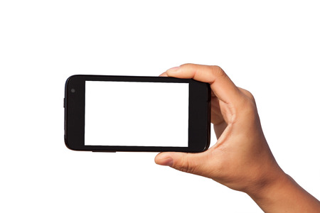 smartphone in hand over white background