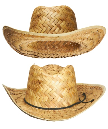 yellow wicker straw hat isolated on white background