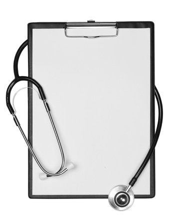 clipboard with stethoscope, space for messages. Isolated on white