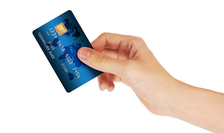 Credit Card in hand, isolated on white background