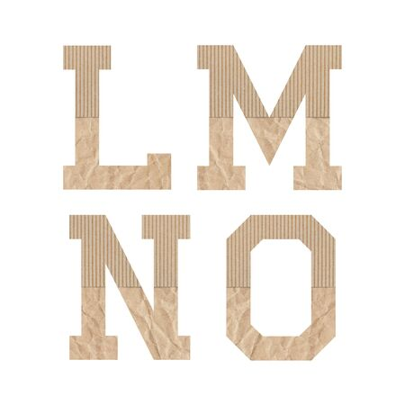 Alphabet letters L M N O with brown paper on white background.