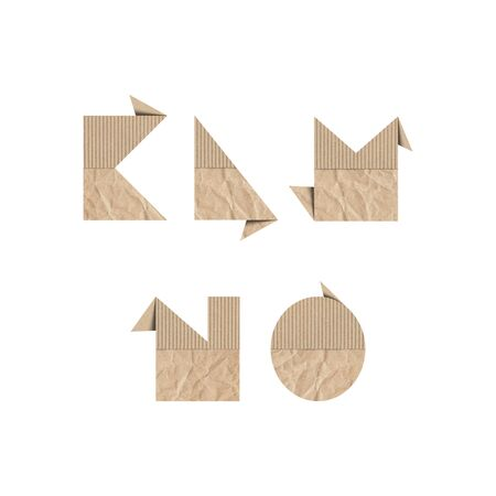 Alphabet letters K L M N O with brown origami paper on white background.