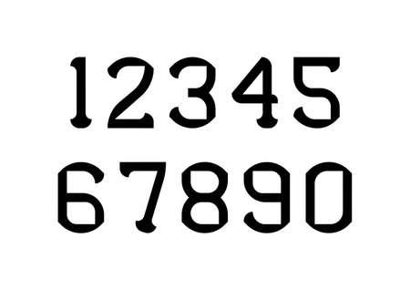 Ilustración de Set of numbers with black typography design elements. Vector illustration. - Imagen libre de derechos