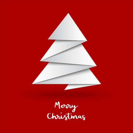 Illustration pour Christmas tree with origami style on red background. - image libre de droit