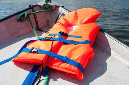 Life jacket on boat background