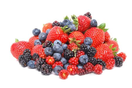 mixed berries white background