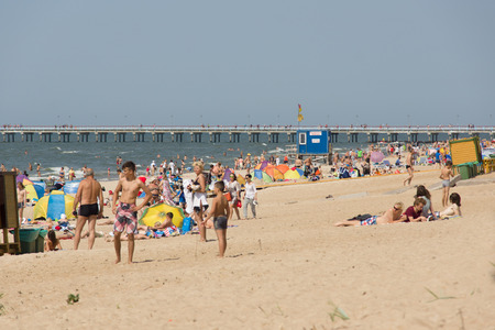 PALANGA, LITHUANIA - AUGUST 02: Affluence of holidaymakers to Palanga beach on August 02, 2015 in Palanga, Lithuania. About 1 million people visited Baltic coast over the weekend.