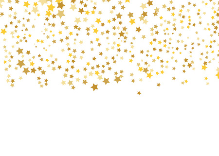 Illustration for Gold Star Vector. Shine confetti pattern. Falling shiny stars. Golden Starry print. Simple design. Eps10. - Royalty Free Image