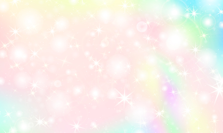 Illustration for Unicorn rainbow background. Kawaii colorful backdrop with rainbow mesh. Holographic sky in pastel color. Bright mermaid pattern in princess colors. Vector illustration. - Royalty Free Image