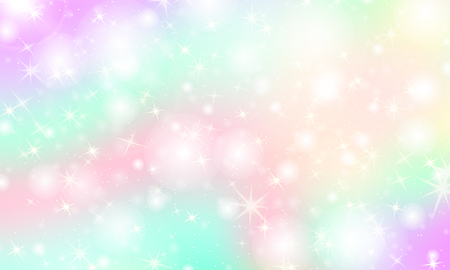 Illustration pour Unicorn rainbow background. Kawaii colorful backdrop with rainbow mesh. Holographic sky in pastel color. Bright mermaid pattern in princess colors. Vector illustration. - image libre de droit