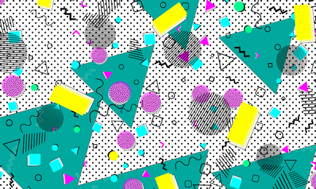 Illustration for Pop art color background. Memphis pattern of geometric shapes for tissue and postcards. Vector Illustration. Hipster style 80s-90s. Abstract colorful funky background. - Royalty Free Image
