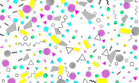 Illustration for 90s pattern. Memphis trend. Nineties pattern. Pop art color background. Vector Illustration. Hipster style 80s-90s. Abstract colorful funky background. - Royalty Free Image
