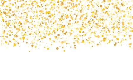 Illustration for Gold glitter texture. Falling confetti. Golden polka dot background. Vector illustration. - Royalty Free Image