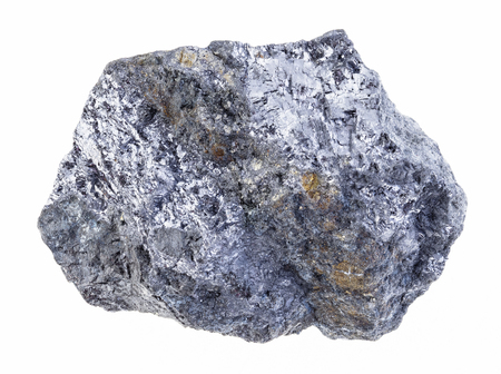 macro photography of natural mineral from geological collection - raw galena (galenite, lead glance) stone with chalcopyrite vein on white background