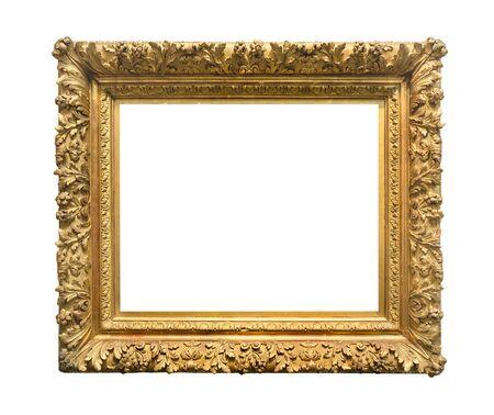 Photo pour retro wide ornamental baroque painting frame painted in gold color cutout on white background - image libre de droit
