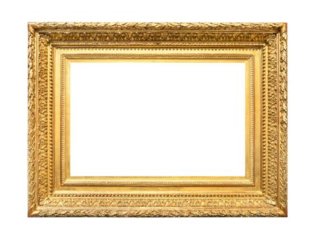 Photo pour vintage wide decorated baroque painting frame painted in gold color cutout on white background - image libre de droit