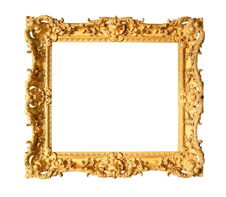 Photo pour old wide ornamental baroque painting frame painted in gold color cutout on white background - image libre de droit