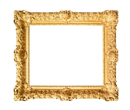 Photo pour old wide decorated baroque painting frame painted in gold color cutout on white background - image libre de droit