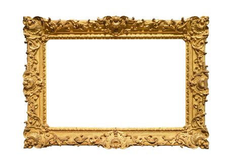Photo for retro wide decorated baroque painting frame painted in gold color cutout on white background - Royalty Free Image