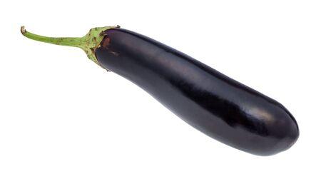 Photo for ripe fresh long dark purple eggplant cutout on white background - Royalty Free Image