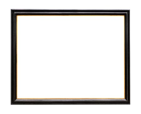 Photo pour old narrow wooden picture frame painted in black color cutout on white background - image libre de droit