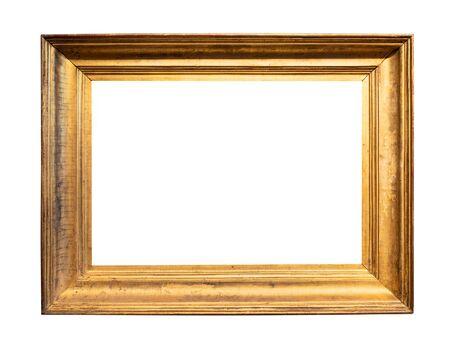 Photo pour vintage simple wide wooden picture frame painted in gold color cutout on white background - image libre de droit