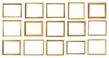 Photo pour set of various vintage wooden picture frames cut out on white background - image libre de droit