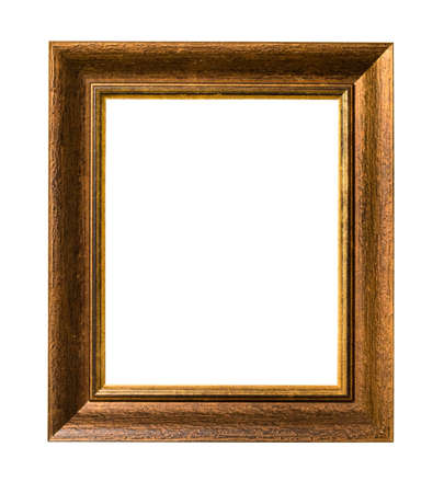 Photo pour vertical wide natural wood picture frame with blank canvas cutout on white background - image libre de droit