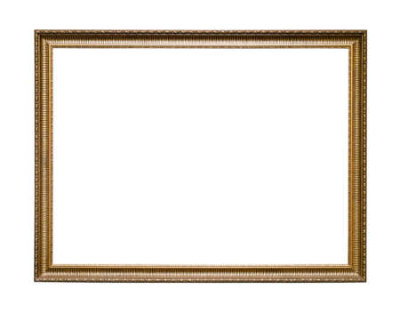 Photo pour narrow carved wooden picture frame with blank canvas cutout on white background - image libre de droit