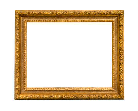 Photo pour old wide classic wood picture frame with blank canvas cutout on white background - image libre de droit