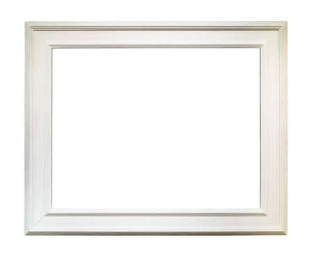 Photo pour wide white wooden picture frame with blank canvas cutout on white background - image libre de droit