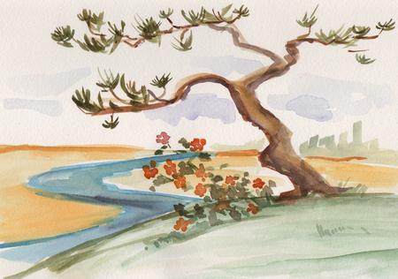 Foto de Ink wash painting, lonely pine near river - Imagen libre de derechos