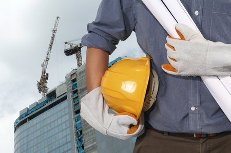 Photo for construction worker on suite - Royalty Free Image