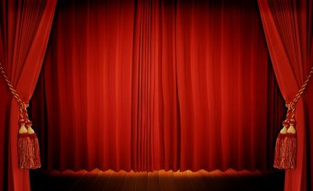Photo pour Theatrical curtain of red color  - image libre de droit
