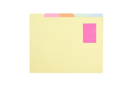 pink note clipped on a file folder isolated on white background.