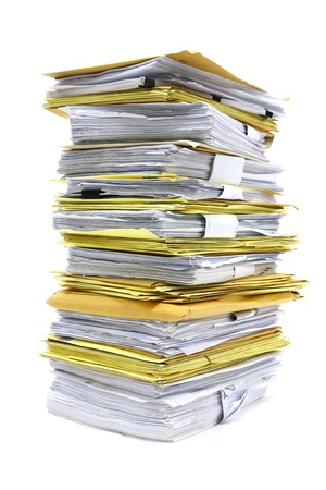 Foto de  stack of papers isolated on white  - Imagen libre de derechos
