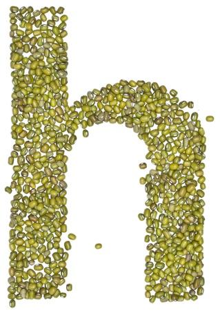 h,alphabet form green beans on white.