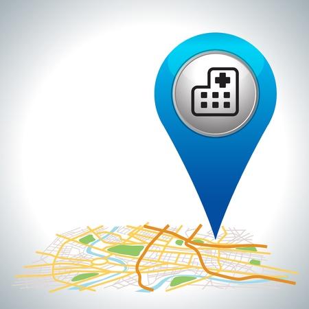 Illustration pour blue hospital pointer on map location   - image libre de droit