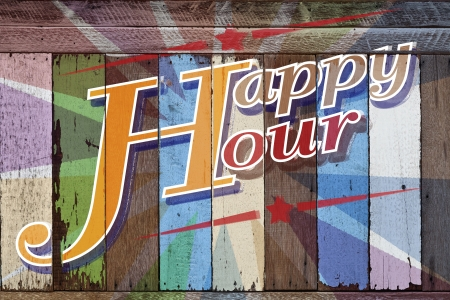 Happy hour, written on wooden colorful