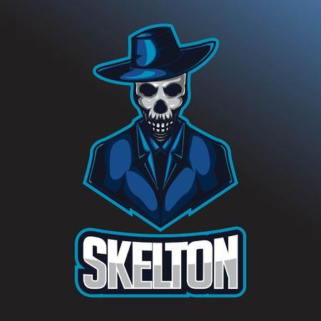 Illustration pour Skull e sport logo template. Skull with cowboy hat and suit - image libre de droit