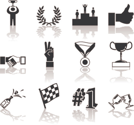 Victory and Success Icon Set Series Design Elements A conceptual icon set relating to victory and success.