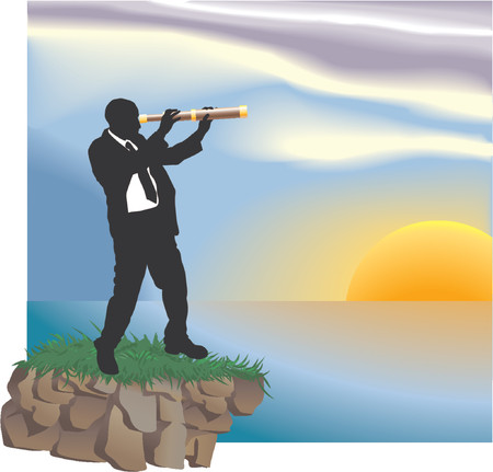 Looking to the future. Conceptual piece. A business man looking through a telescope at new horizons.