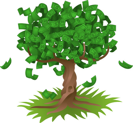 Illustration pour Conceptual vector illustration. Money growing on a tree, representing perhaps green environmental investments or the growth of any savings or investment. - image libre de droit