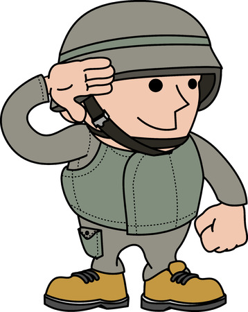 Foto per Illustration of male soldier saluting and in military clothing  - Immagine Royalty Free