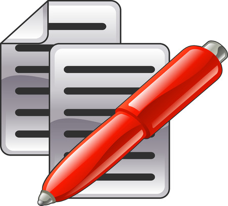 Photo pour Shiny red pen and documents or contacts icon illustration.  - image libre de droit