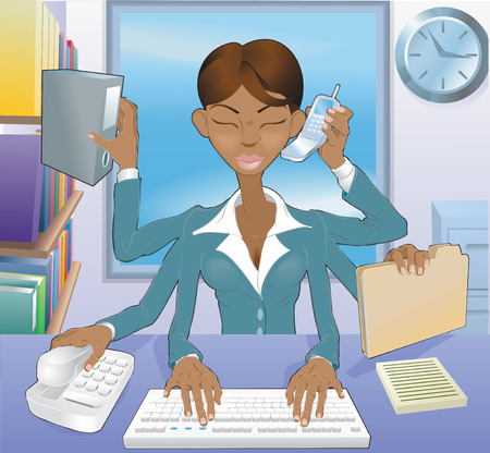 Illustration of multi-tasking black business woman in office environment