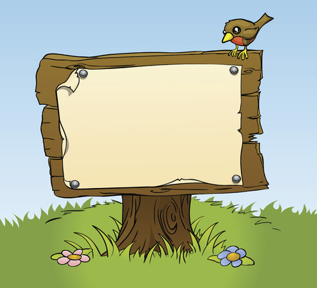 Illustration pour An illustration of a rustic wooden sign with copy space for your own text. Surrounded by a bird and flowers for a perfect woodland scene - image libre de droit